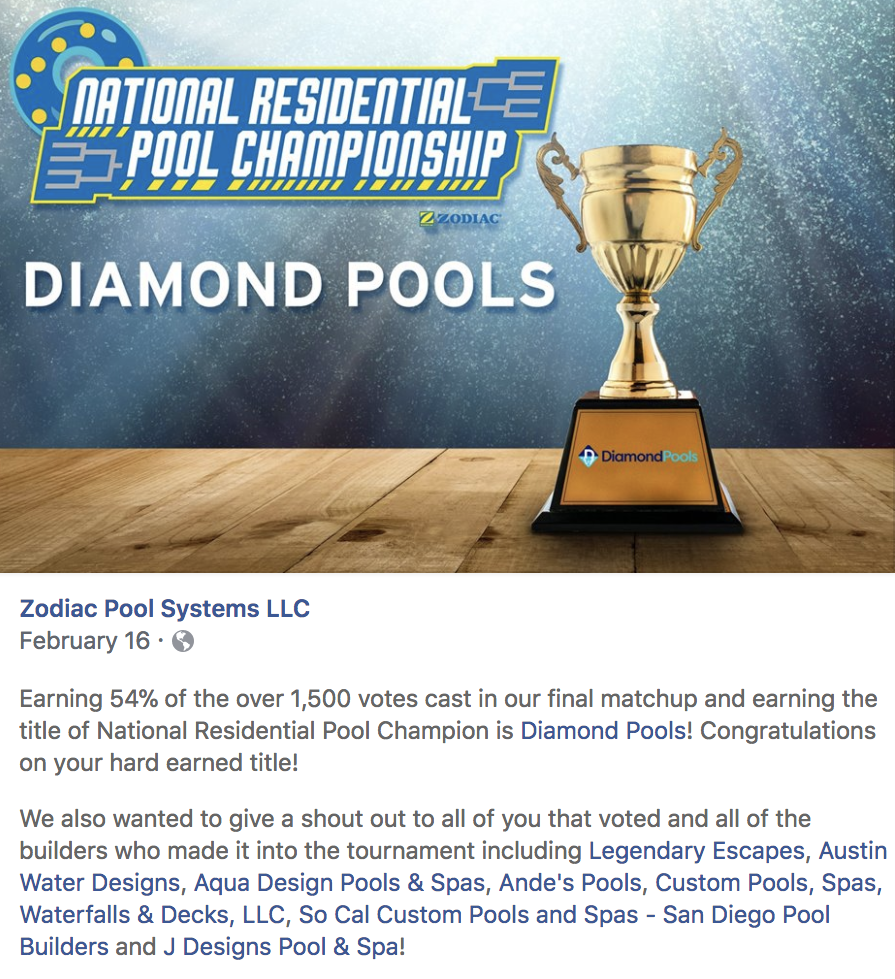 National Residential Pool Championship Award